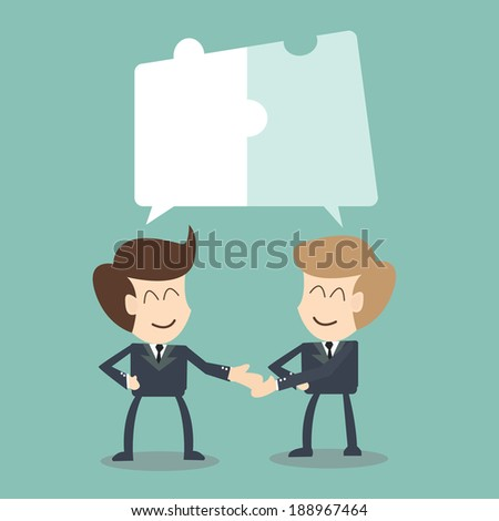 Joint Effort - collaboration concept ,Businessman in conversation with jigsaw conception  - stock vector
