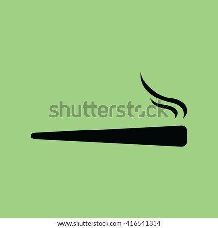 Joint / spliff / weed icon on green background . vector illustration - stock vector