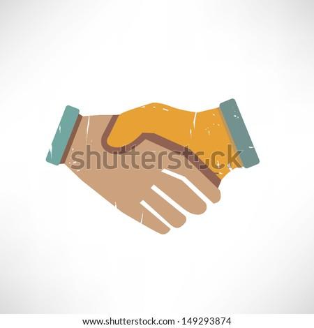 joint venture, handshake in grunge style - stock vector