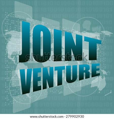 joint venture words on digital screen background with world map vector - stock vector