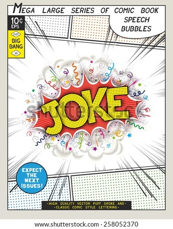 Joke. Explosion in comic style with lettering and realistic puffs smoke. 3D vector pop art speech bubble - stock vector