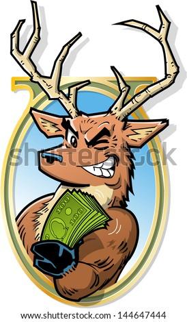 Joke Illustration of Big Bucks, Smiling Buck With Roll of Money - stock vector