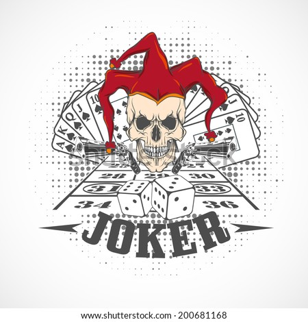 Joker card. Emblem casino. - stock vector