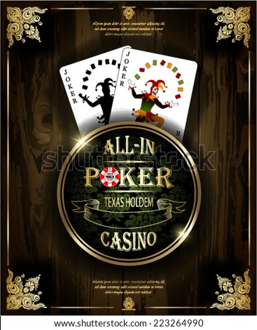 Joker card. Poker and casino label. Vector background. Texas holdem. Wood texture. - stock vector