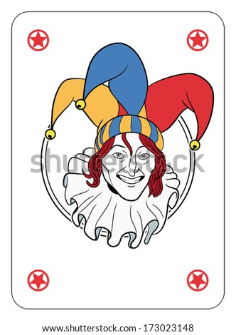 Joker face in a circle playing card  - stock vector