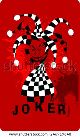Joker game card with the image of the red joker - stock vector