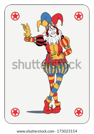Joker in colorful costume playing card - stock vector