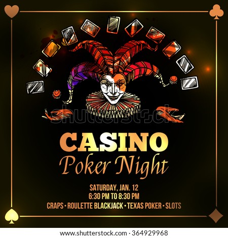 Joker poster with casino and poker night advertisement flat vector illustration