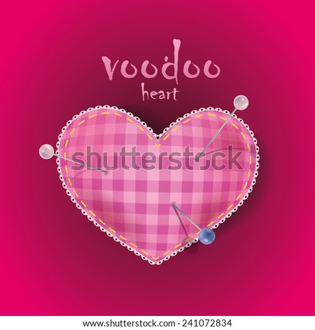 Joky card for Valentine's Day with a heart-shaped pad for needles with sewing pins. - stock vector