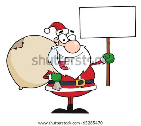 Jolly Christmas Santa Holding A Blank Sign - stock vector