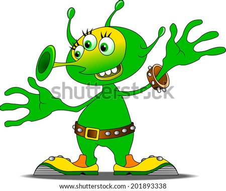 Jolly Green alien in funny shoes, vector and illustration - stock vector