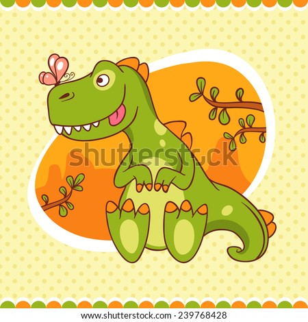 Jolly green baby dinosaur looks at shrunken butterfly on his nose. Hand-drawn card. Ideal as a children's book, or print for baby clothes. - stock vector