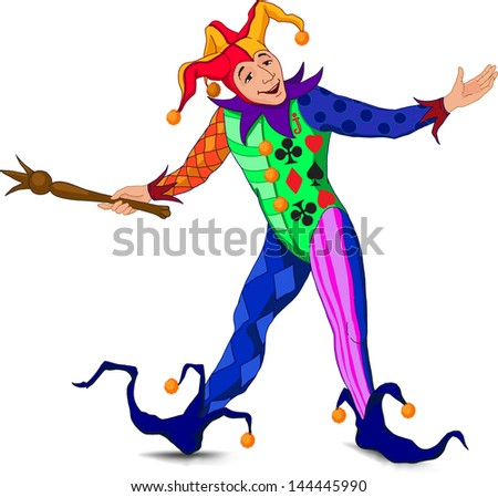 Jolly Joker who stands in a welcoming pose in a bright dress - stock vector