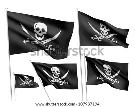 Jolly Roger (Calico Jack Rackham) vector flags. A set of 5 wavy 3D flags created using gradient meshes. - stock vector