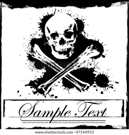 Jolly Roger grunge background - stock vector