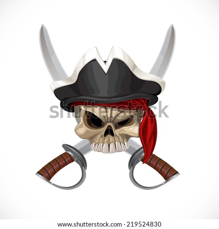 Jolly Roger in pirat hat and with sabers - stock vector