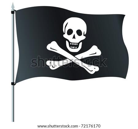 Jolly Roger or Skull and Cross bones Pirate flag - stock vector