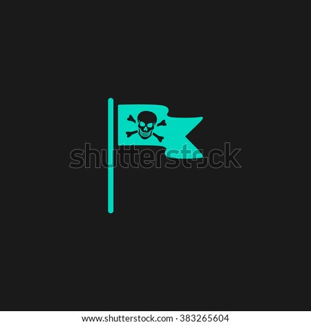 Jolly Roger or Skull and Cross bones Pirate flag. Flat simple modern illustration pictogram. Collection concept symbol for infographic project and logo - stock vector
