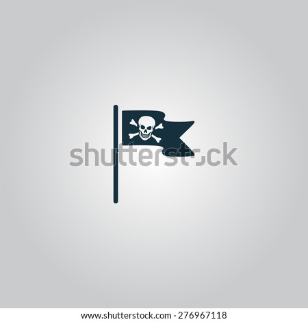 Jolly Roger or Skull and Cross bones Pirate flag. Flat web icon or sign isolated on grey background. Collection modern trend concept design style vector illustration symbol - stock vector