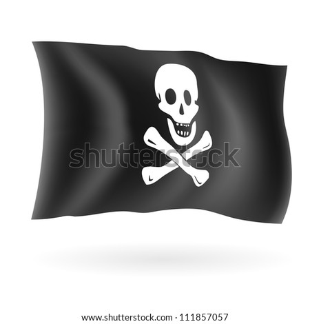 Jolly roger pirate flag isolated on white vector illustration.