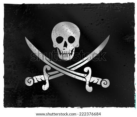 Jolly roger pirate flag vector - stock vector