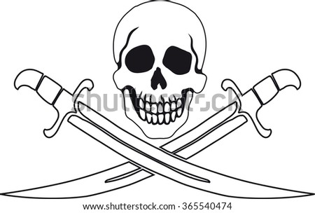 Jolly Roger Pirate sign on transparent background with white fill. - stock vector