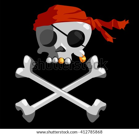 jolly roger.pirates flag - stock vector