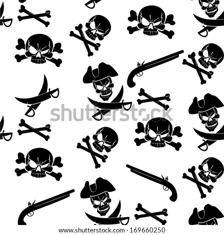 Jolly Roger seamless pattern with white background - stock vector