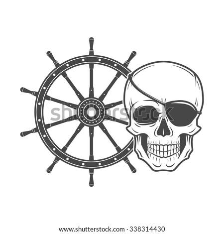 Jolly Roger with eyepatch logo template. Evil skull vector. Dark t-shirt design. Pirate insignia concept. - stock vector