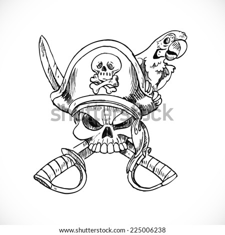 Jolly Roger with parrot sketch on white background - stock vector