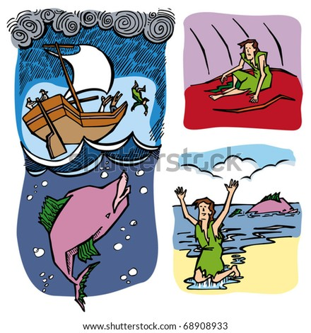 Jonah and the whale. - stock vector