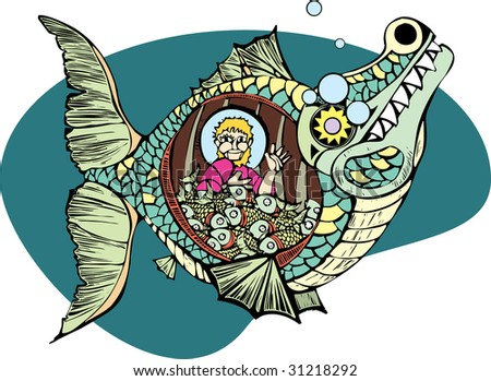 Jonah in the belly of the whale with a bunch of fish. - stock vector
