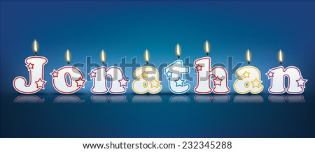 JONATHAN written with burning candles - vector illustration