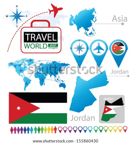 Jordan. flag. Asia. World Map. Travel vector Illustration. - stock vector