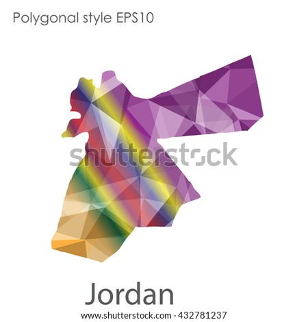 Jordan map in geometric polygonal style.Abstract gems triangle,modern design background.