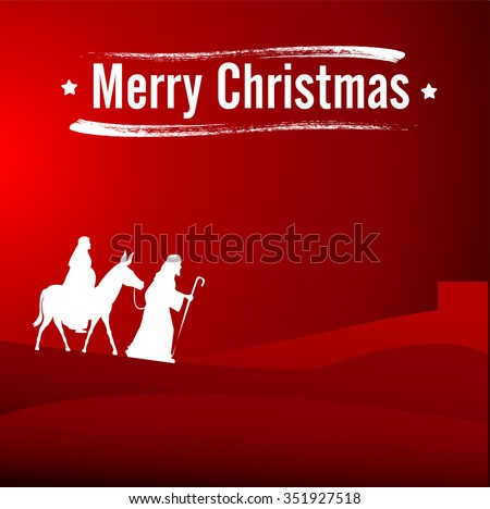 Joseph and pregnant Mary riding on donkey going to Bethlehem with words Merry Christmas - stock vector