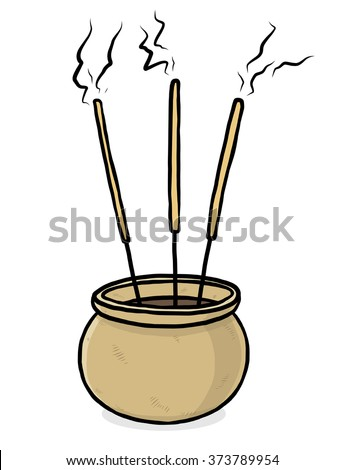 joss stick and pot/ cartoon vector and illustration, hand drawn style, isolated on white background.