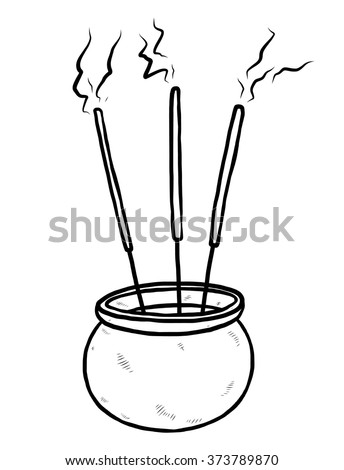 joss stick and sand pot / cartoon vector and illustration, black and white, hand drawn, sketch style, isolated on white background.