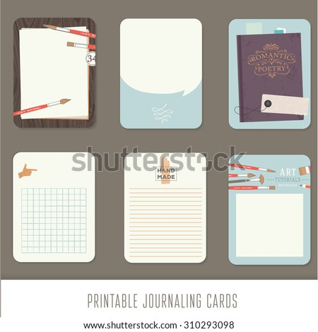 Journaling cards, notes, stickers, labels, tags with cute decorative illustrations. Template for scrapbooking, wrapping, notebooks, notebook, diary, decals. Vintage vector art tools. - stock vector