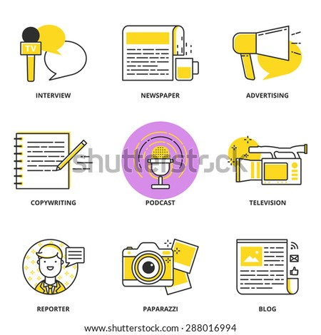 Journalism and mass media vector icons set: interview, newspaper, advertising,copywriting, podcast, television, reporter, paparazzi, blog. Modern line style - stock vector
