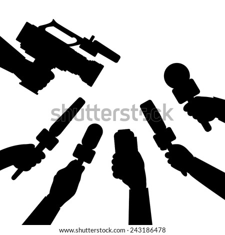 Journalism concept illustration. Set of hands holding microphones, voice recorder and camera. News and interview template. - stock vector
