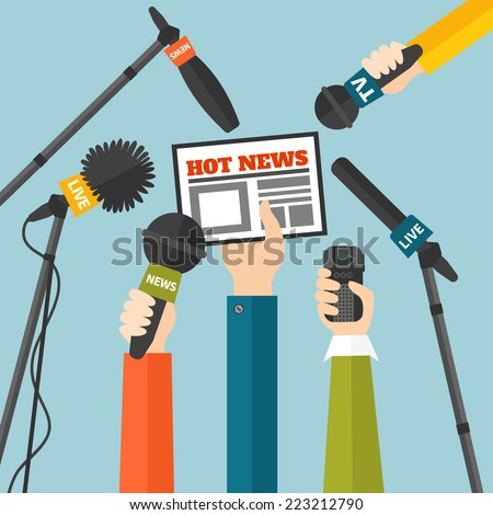 Journalism concept vector illustration in flat style. Set of hands holding newspaper, microphones and voice recorders. Hot news template. Press illustration - stock vector