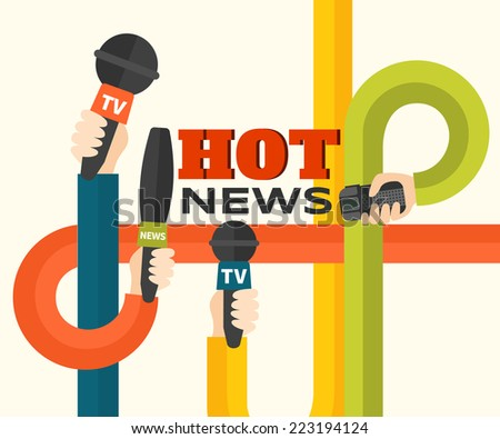 Journalism concept vector illustration in flat style. Vector illustration of intertwined hands with microphones and recorders. Hot news template. Press illustration - stock vector