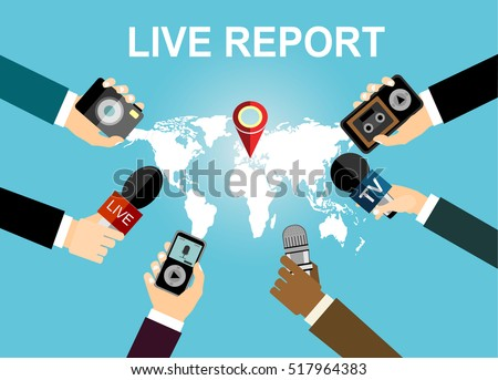 Journalism concept vector illustration in flat style.Vector live report concept, live news, hands of journalists with microphones, camera and tape recorders