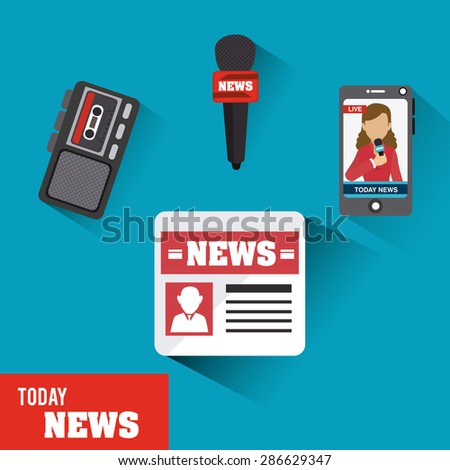 Journalism design over blue background, vector illustration.
