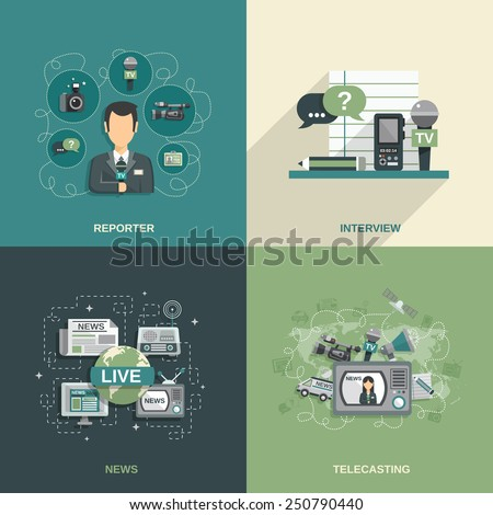 Journalist design concept set with reporter interview news telecasting flat icons isolated vector illustration - stock vector