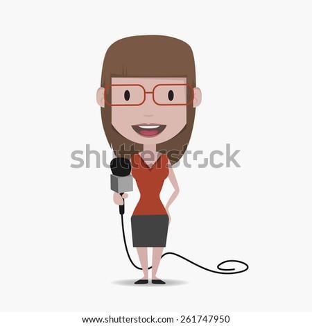 journalist woman - stock vector