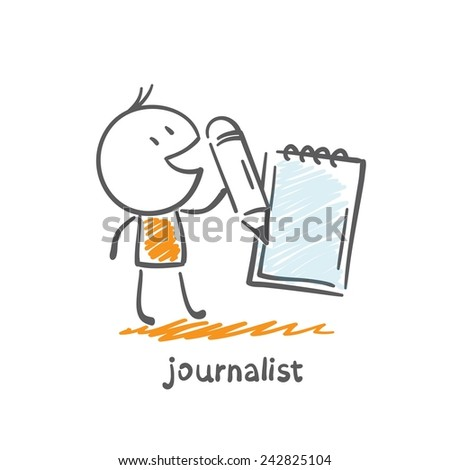 journalist writes news notebook illustration - stock vector
