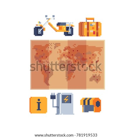 Journey transportation items pixel art style stock vector journey and transportation items pixel art style paper world map bike and helmet gumiabroncs Images