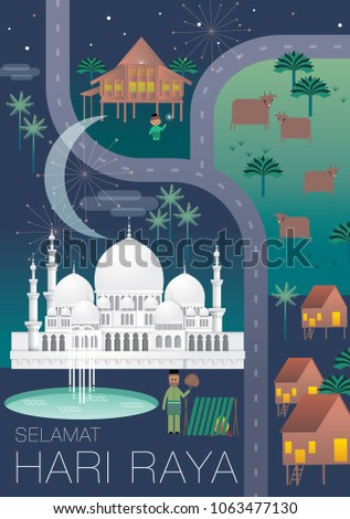 Journey home hari raya greetings template stock vector 2018 journey home hari raya greetings template vectorillustration with malay words that mean happy m4hsunfo